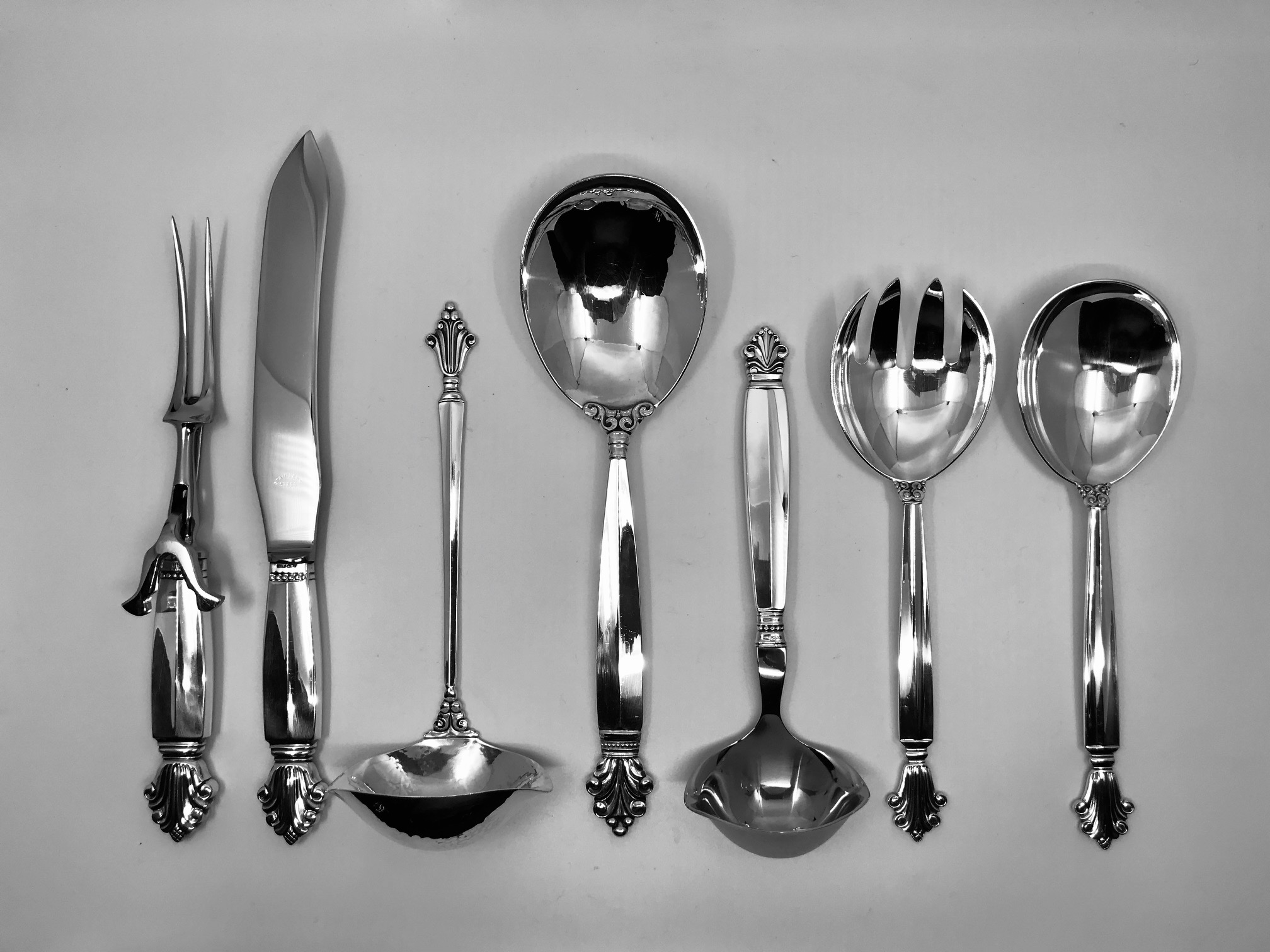 Acanthus by Georg Jensen Sterling Silver individual Pastry Forks